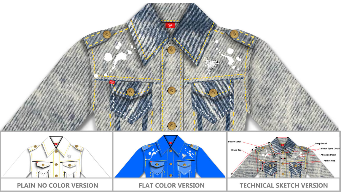 designing a clothing line fashion sketch software - drawing skills not required - denim jacket design